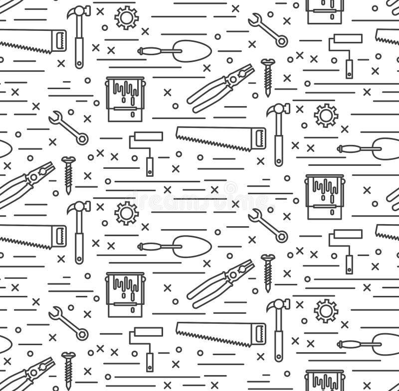 Van de de hulpmiddelenlijn van de huisreparatie de pictogrammen naadloos vectorpatroon vector illustratie