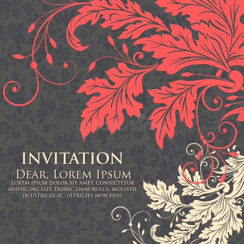Van de huwelijksuitnodiging en aankondiging kaart met bloemenkunstwerk als achtergrond Elegante overladen bloemenachtergrond bloe stock illustratie