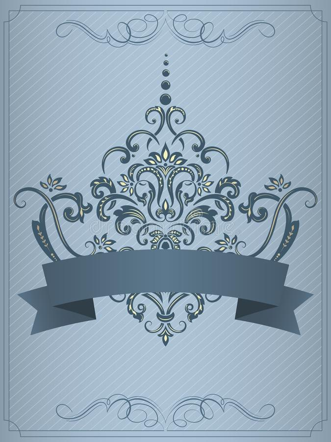 Van de huwelijksuitnodiging en aankondiging kaart met uitstekend kunstwerk als achtergrond Elegante overladen damastachtergrond vector illustratie