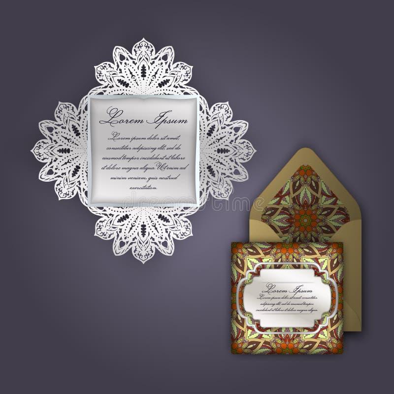 Van de huwelijksuitnodiging of groet kaart met uitstekend bloemenornament Document het malplaatje van de kantenvelop, model voor  stock illustratie