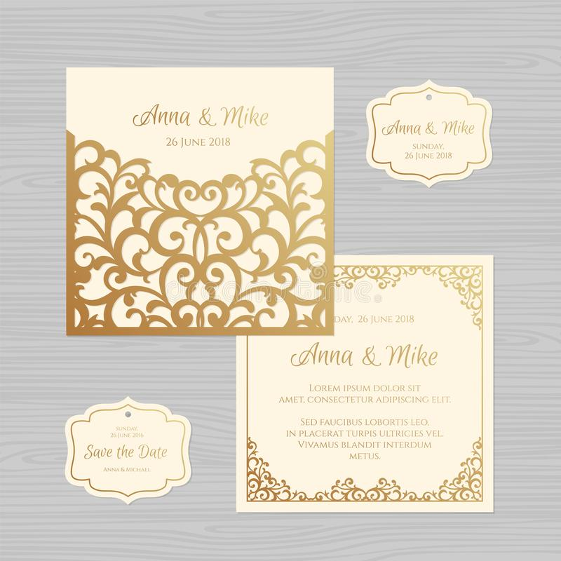 Van de huwelijksuitnodiging of groet kaart met uitstekend ornament Document vector illustratie