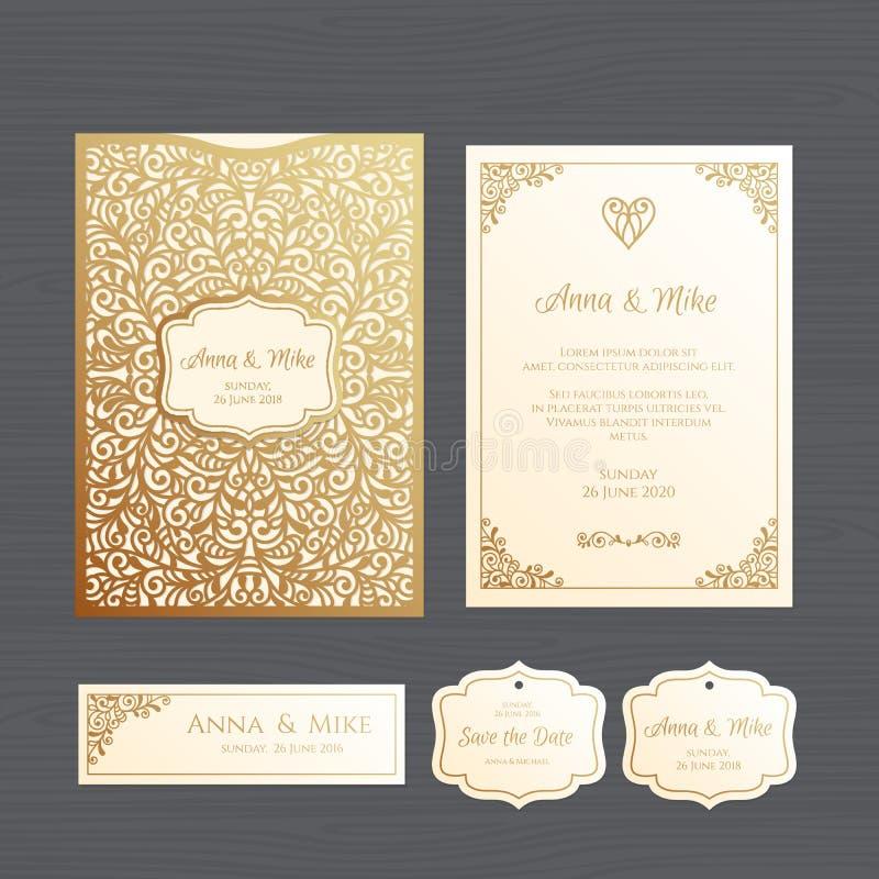 Van de huwelijksuitnodiging of groet kaart met uitstekend ornament Document royalty-vrije illustratie