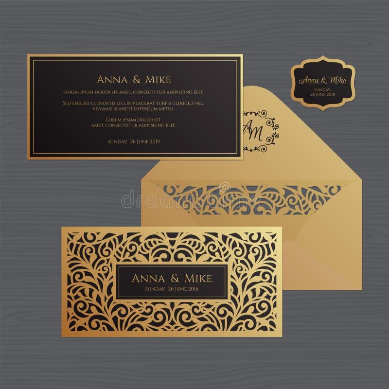 Van de huwelijksuitnodiging of groet kaart met uitstekend ornament Document stock illustratie