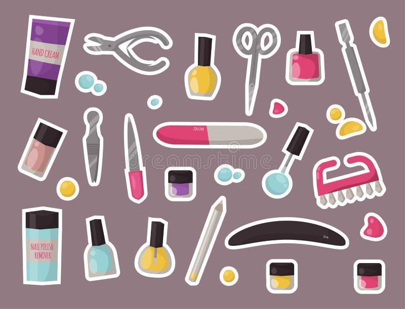 Van de de hygiënehand van manicureinstrumenten van de de zorgpedicure van het de salonpincet van de vingernagel persoonlijke scho vector illustratie
