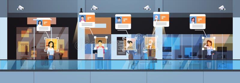 Van de de identificatie gezichtserkenning van detailhandelbezoekers van het het concepten moderne winkelcomplex binnenlandse de v vector illustratie
