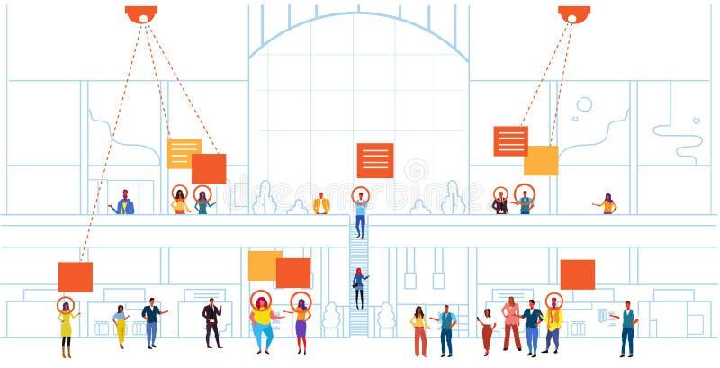 Van de de identificatie gezichtserkenning van detailhandelbezoekers van het het concepten moderne winkelcomplex binnenlandse de v stock illustratie