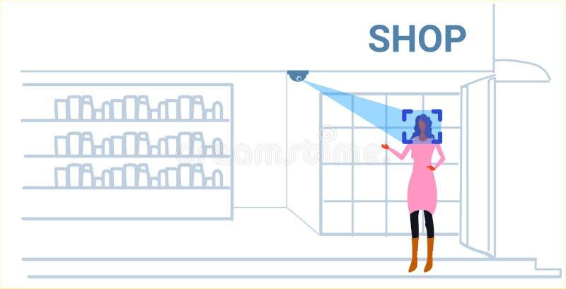 Van de de identificatie gezichtserkenning van de vrouwenklant het conceptenmeisje die de boutiquebinnenland kiezen van de toebeho stock illustratie