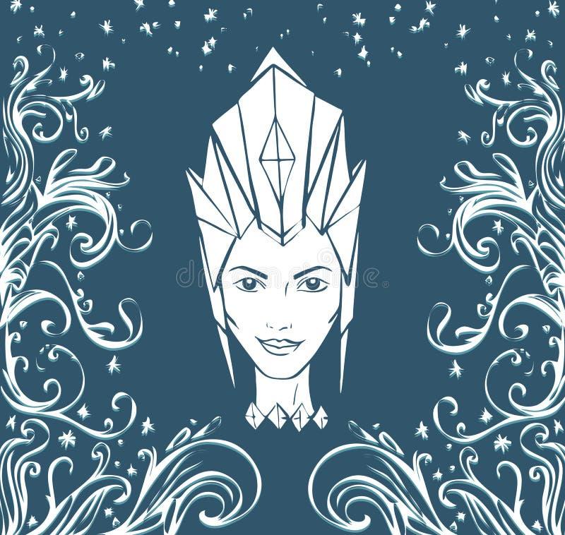 Van de ijskoningin en vorst patronen Gezicht van een vrouw in een kroon vectorillustratie royalty-vrije illustratie