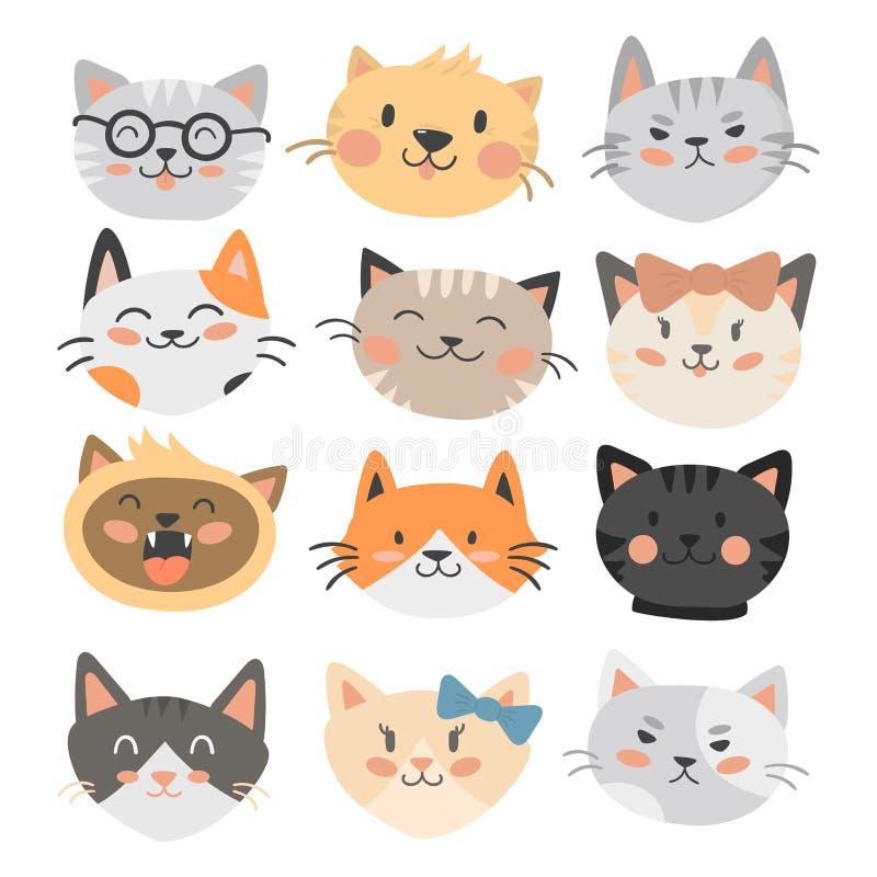 Van de illustratie leuke dierlijke grappige decoratieve karakters van kattenhoofden het vector katachtige binnenlandse in getrokk vector illustratie