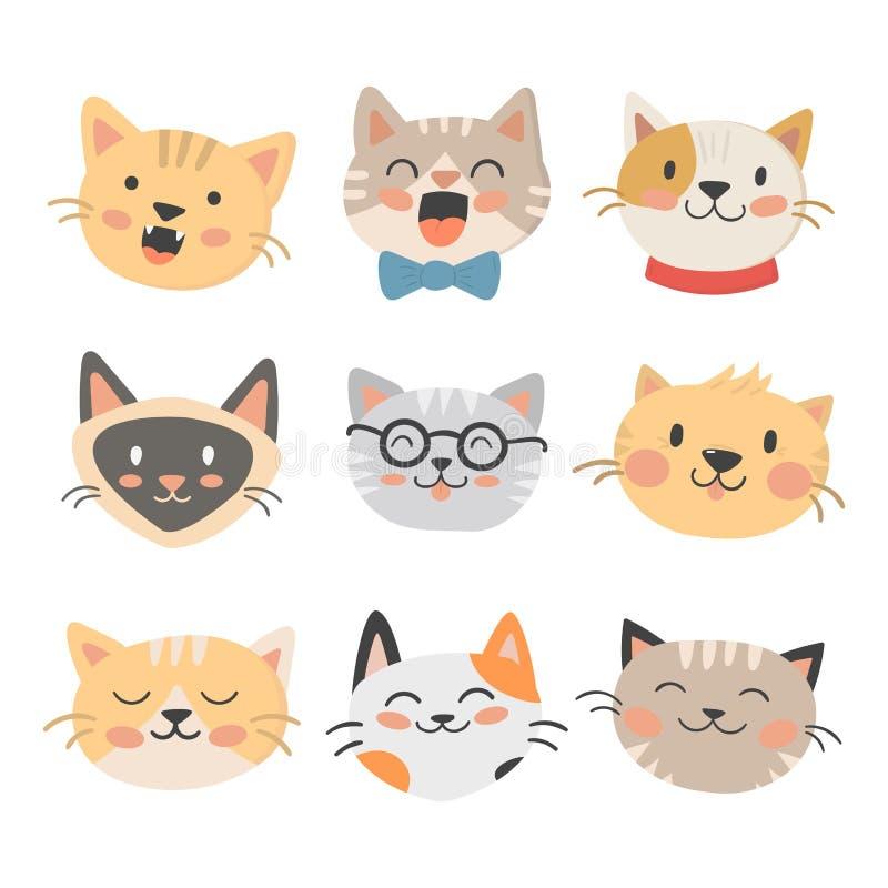 Van de illustratie leuke dierlijke grappige decoratieve karakters van kattenhoofden het vector katachtige binnenlandse in getrokk stock illustratie