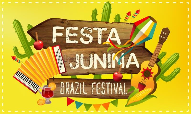Van de illustratie traditionele Brazilië Juni van Festajunina het festivalpartij Vector illustratie Latijns-Amerikaanse vakantie royalty-vrije illustratie