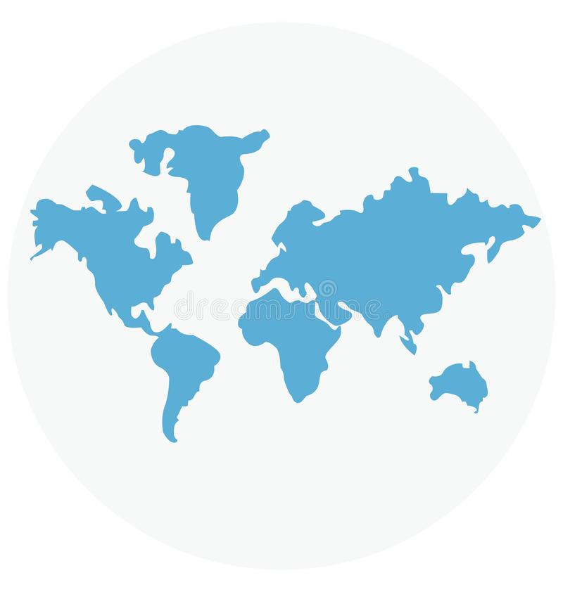Van de de Illustratiekleur van de wereldkaart Geïsoleerd het Pictogram gemakkelijk editable en speciaal gebruik Vector voor Vrije vector illustratie