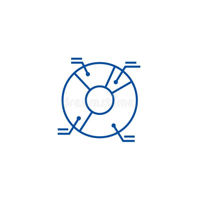 Van de de illustratielijn van het pasteidiagram het pictogramconcept De illustratie vlak vectorsymbool van het pasteidiagram, tek vector illustratie