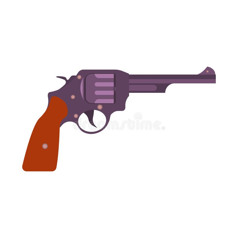 Van de de illustratierevolver van de kanon retro vectorkunst uitstekende gangster van het het pistoolwapen vector illustratie
