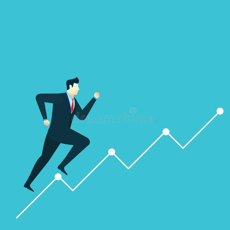 Van de de illustratiesprong van het bedrijfsmensenconcept de financiëngrafiek vector illustratie
