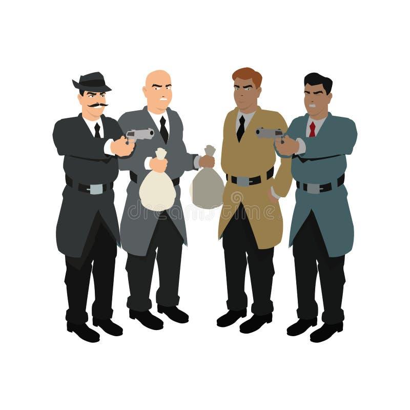 Van de inspecteurspolitie en dief beeldverhaalontwerp royalty-vrije illustratie