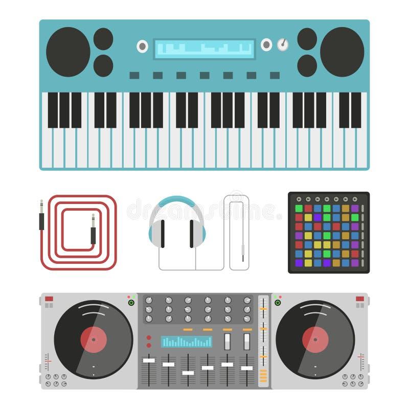 Van de instrumentenbreakdance van de hiphop de bijkomende musicus van de de tikmuziek expressieve vectorillustratie van DJ royalty-vrije illustratie