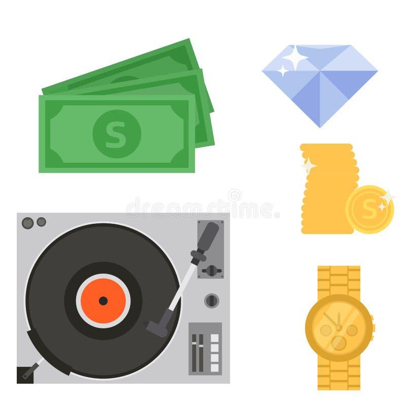 Van de instrumentenjuwelen van de hiphop de bijkomende vectormusicus van de toebehorenbreakdance van de de tikmuziek expressieve  royalty-vrije illustratie