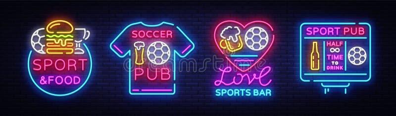 Van de inzamelingsemblemen van de sportenbar het neonvector Vastgestelde het neontekens van de sportenbar, Voetbal en Voetbalconc vector illustratie