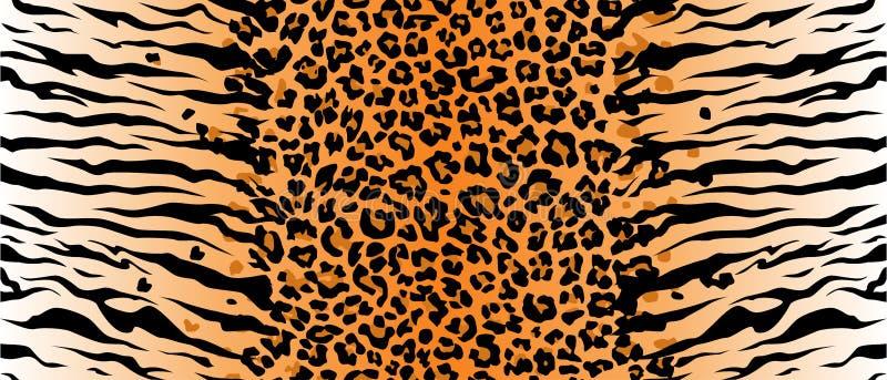 Van de de jaguartextuur van de luipaardtijger de oranje zwarte Vectorwildernis De Katten van Bengalen - Tijgers strook royalty-vrije illustratie