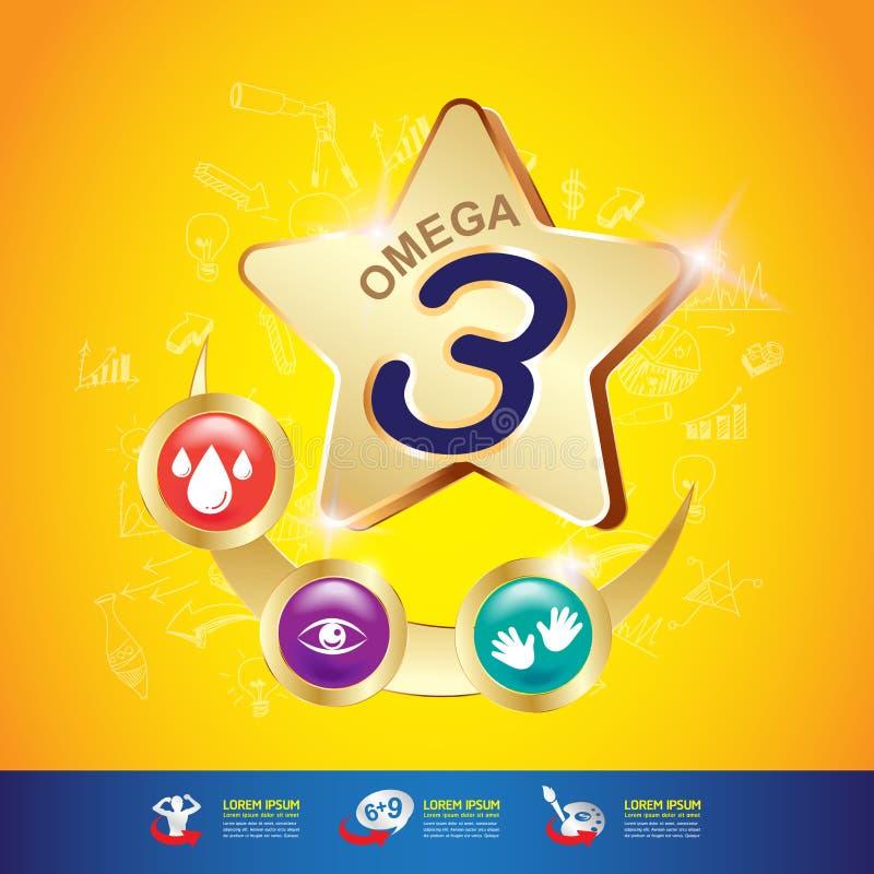 Van de jonge geitjes Omega Calcium en Vitamine Concept Logo Gold Kids stock illustratie