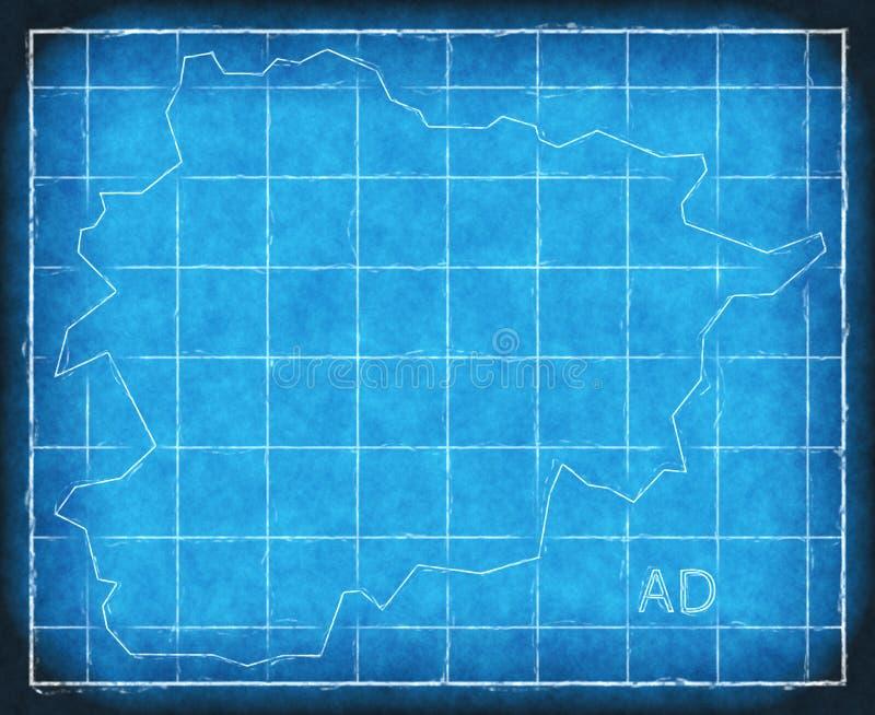 Van de de kaart blauwdruk van Andorra het silhouet van de het kunstwerkillustratie vector illustratie