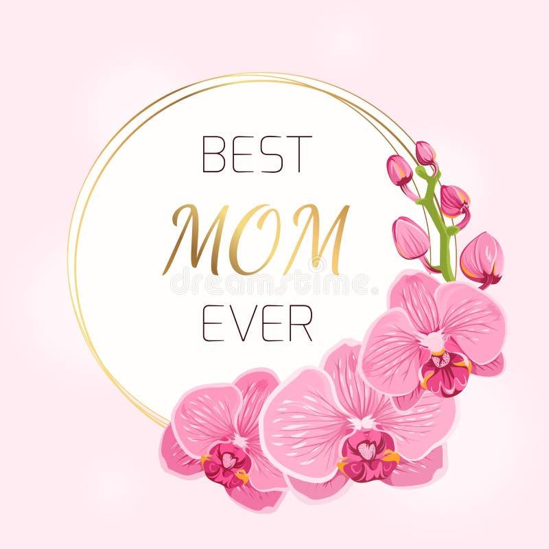 Van de de kaart de roze orchidee van de moedersdag lente van de de bloemenkroon vector illustratie