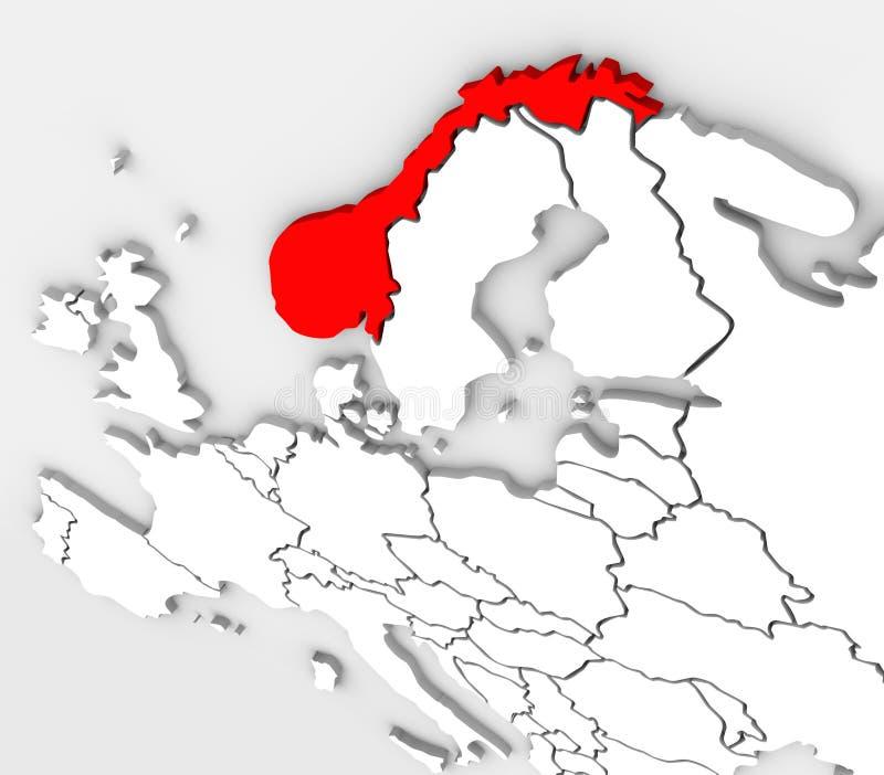 Van de Kaarteuropa van Noorwegen het Abstracte 3D Continent van het Land royalty-vrije illustratie
