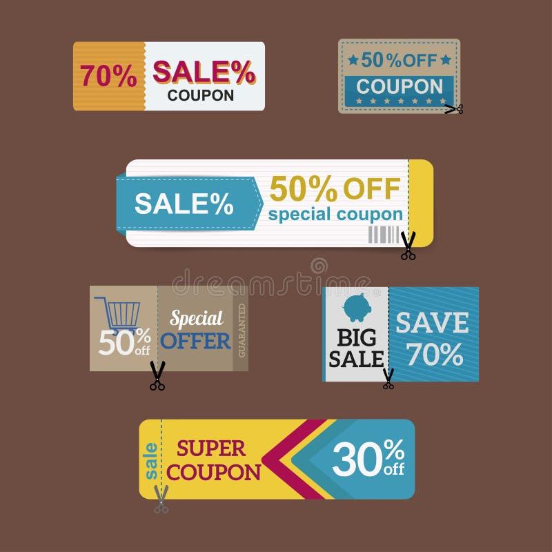 Van de kaartpercenten van de verkoopcoupon van het de kortingssymbool de vectorillustratie stock illustratie
