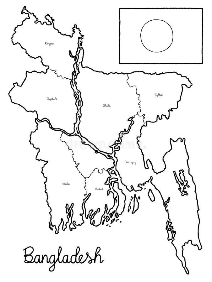 Van de de Kaartvlag van het Land van Bangladesh Art. van het de Illustratiehand Getrokken Beeldverhaal het Vector royalty-vrije illustratie