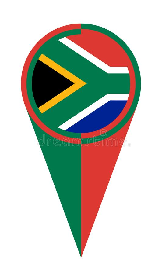 Van de de Kaartwijzer van Zuid-Afrika de Plaatsvlag vector illustratie