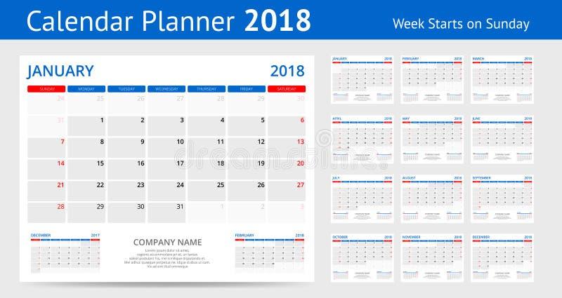 van de de kalenderdruk van 2018 de het Malplaatjeweek begint de Richtlijnreeks van het Zondagportret van 12 Maanden Ontwerpers vo royalty-vrije illustratie