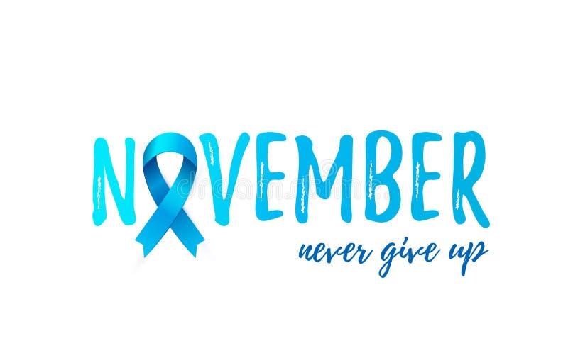 Van de Kankervoorlichting van november Prostate de Maandbanner met blauw realistisch lint vector illustratie