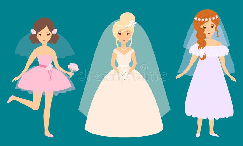 Van de de karakters vectorillustratie van huwelijksbruiden van het de vieringshuwelijk de maniervrouw stock illustratie