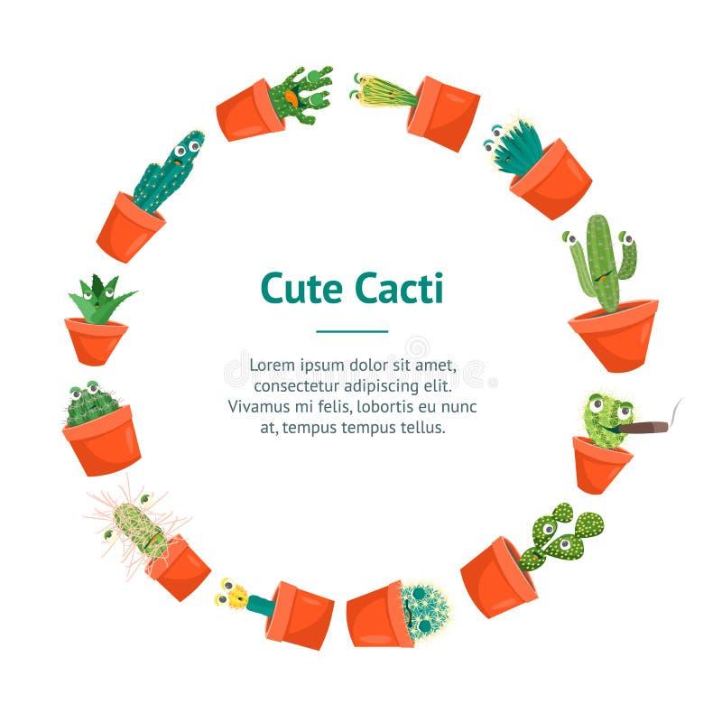 Van de de Karaktersbanner van de beeldverhaal Grappige Cactus de Kaartcirkel Vector vector illustratie