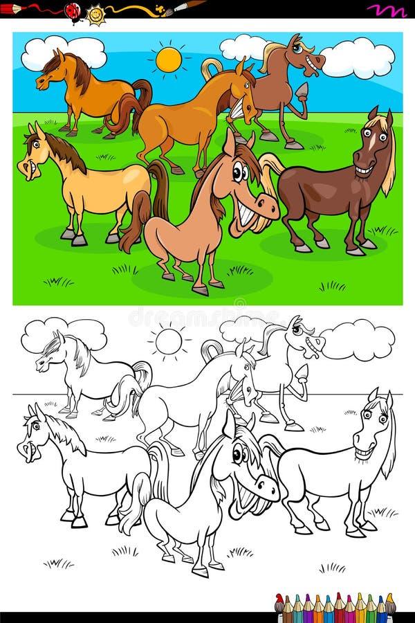 Van de de karaktersgroep van het paardenlandbouwbedrijf dierlijk de kleurenboek stock illustratie