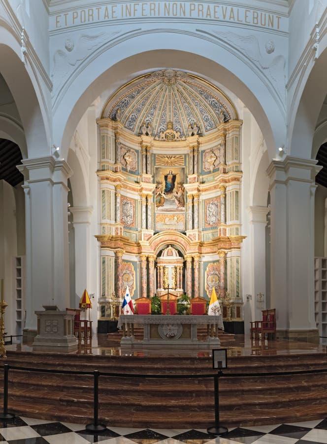 Van de de kathedraalbasiliek van de kerk binnenlands mening metropolitanade Santa Maria La antigua San Felipe in oude viejo Panam stock afbeelding