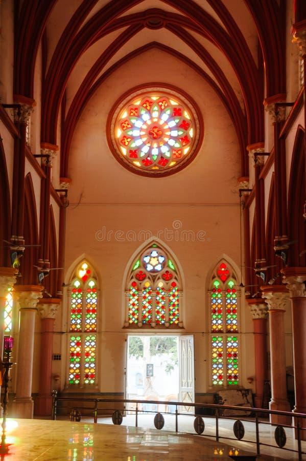 Van de de Kathedraalkerk van heilige Mary ` s Katholieke binnenlandse de freskoarchitectuur in Madurai stock afbeelding