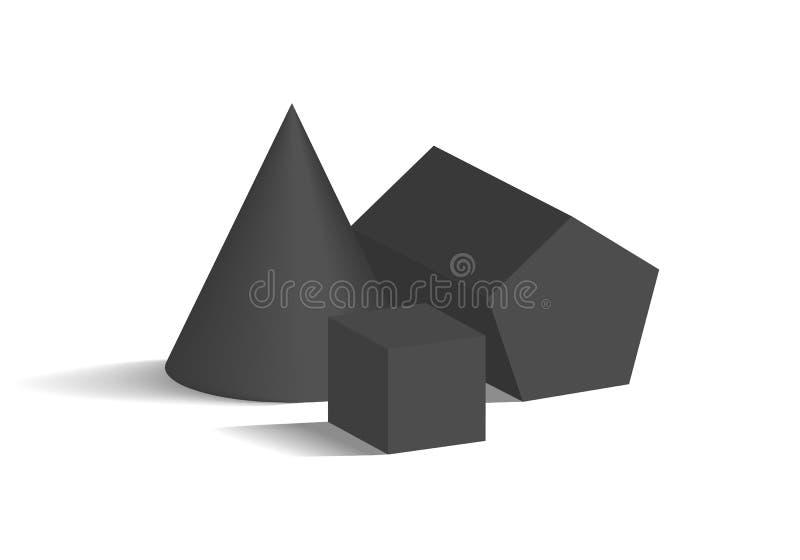 Van de kegel Pentagonale Prisma en Kubus 3D Geometrische Vormen vector illustratie