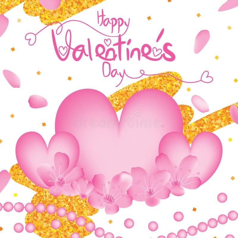 Van de de kersenbloem van de valentijnskaartendag het goud van de de liefdeparel schittert kader stock illustratie