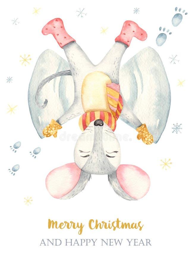 Van de Kerstmis leuke rat van de waterverfkaart gelukkige de sneeuwengel royalty-vrije illustratie