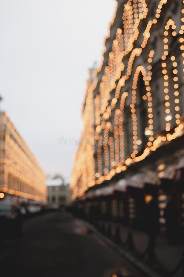 Van de Kerstmis lichte openluchtstad van het de wintersprookjesland de straatmening van de nieuwe decoratie van de jaar 2019 voor royalty-vrije stock foto's