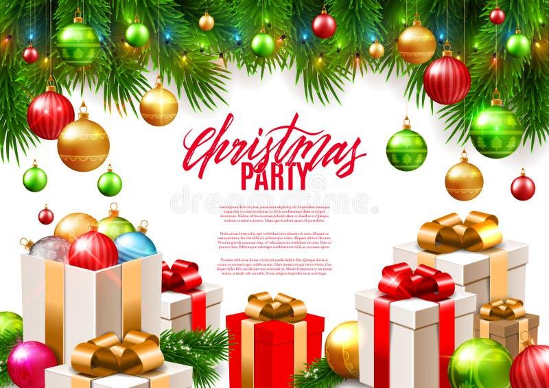 Van de Kerstmis patry affiche ontwerp als achtergrond, decoratieve kleurrijke ballen stock illustratie