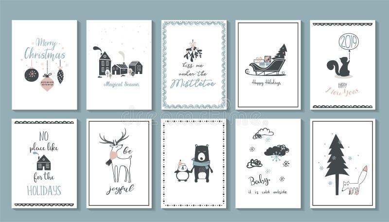 Van de Kerstmisaffiche en groet kaarten in retro Skandinavische stijl Kerstmisballen in pastelkleuren, de winterlandschap en stock illustratie