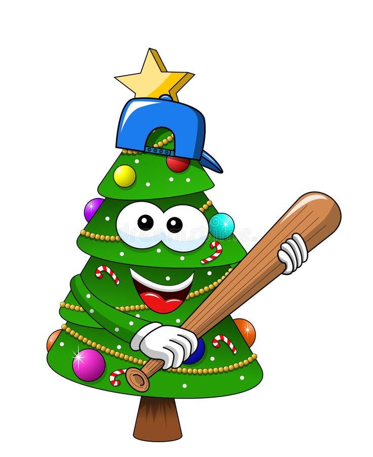 Van de Kerstmisboom van beeldverhaalkerstmis geïsoleerd de knuppelhonkbal GLB vector illustratie
