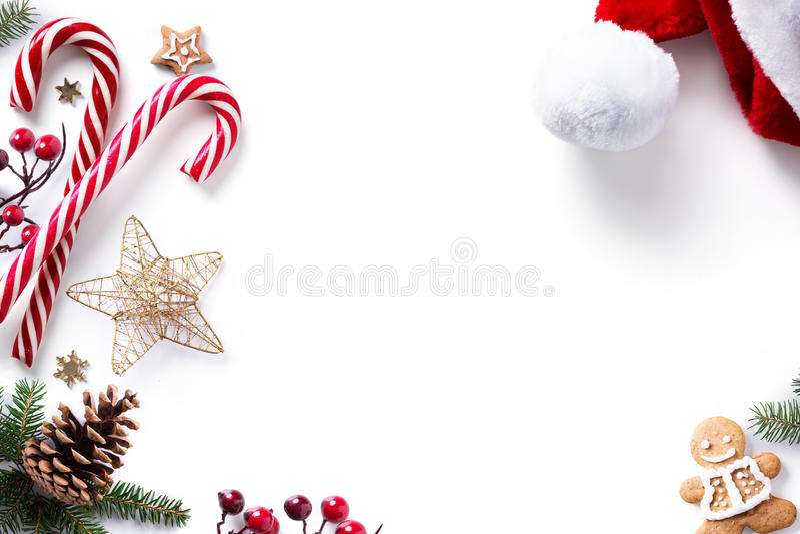 Van de Kerstmisdecoratie en vakantie snoepje op witte achtergrond royalty-vrije stock foto's