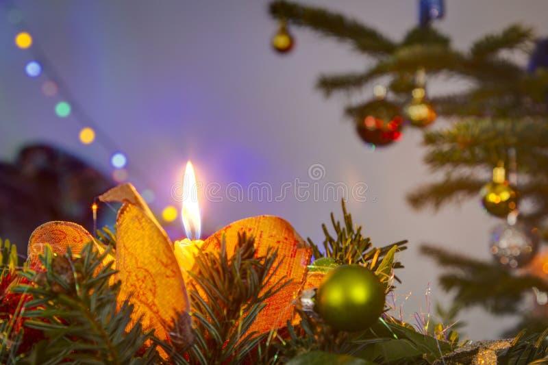Van de Kerstmiskaars en boom lichten royalty-vrije stock fotografie