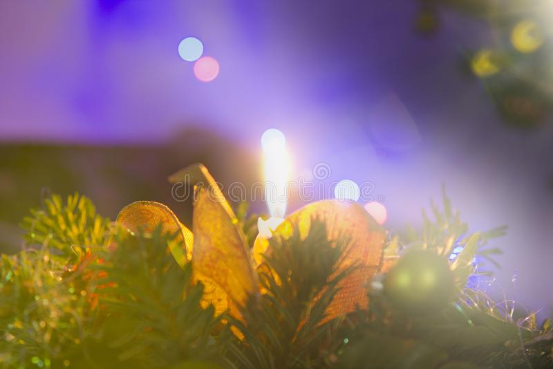 Van de Kerstmiskaars en boom lichten royalty-vrije stock afbeeldingen