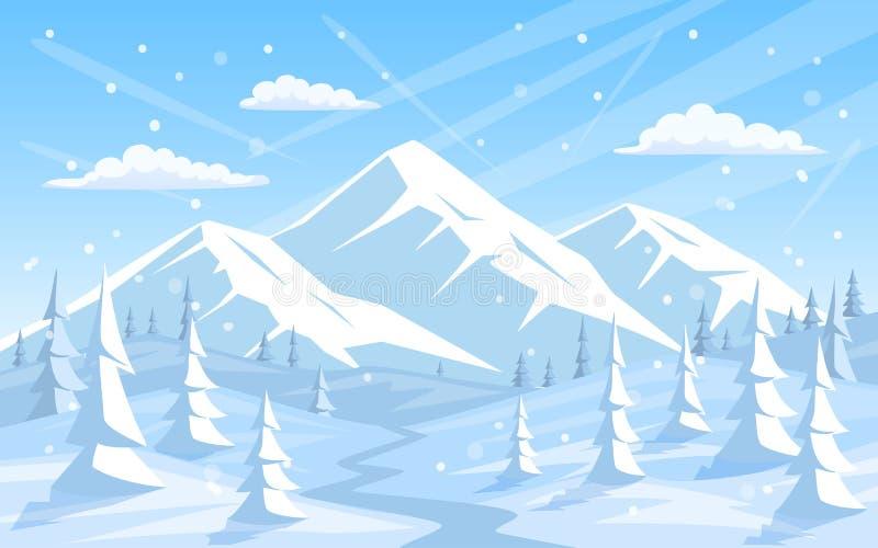 Van de Kerstmisvakantie van de winter rotsachtige bergen van de het jaargroet gelukkige nieuwe het landschapsachtergrond stock illustratie