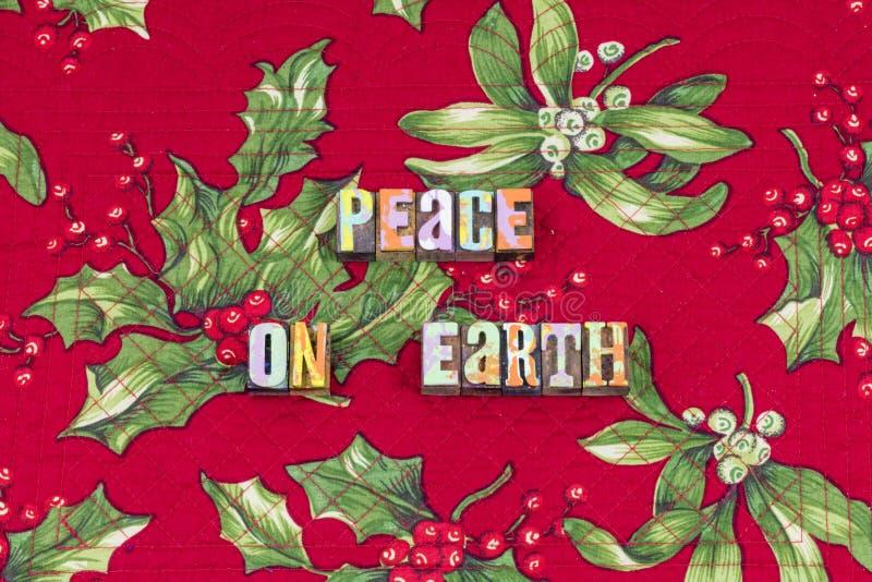 Van de Kerstmisvreugde van de vredesaarde karmatypografie royalty-vrije illustratie